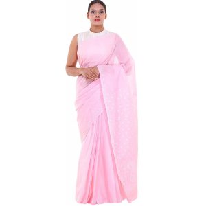Lucknow Chikan Pink Cotton saree