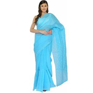 Lucknow Chikan Sky Blue Cotton saree