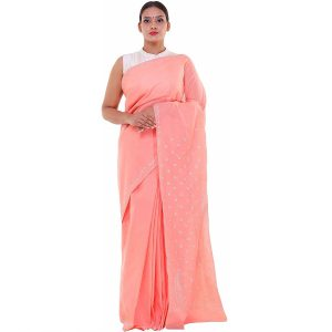 Lucknow Chikan Peach Cotton saree