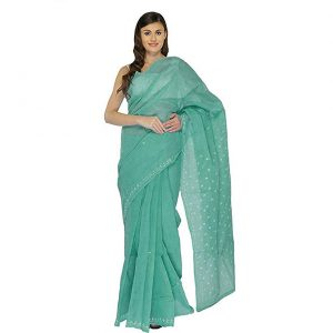 Lucknow Chikan Teal Green Cotton saree