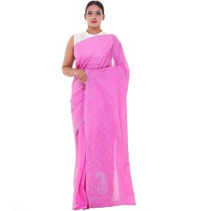 Lucknow Chikan Onion Pink Cotton saree