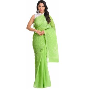 Lucknow Chikan Green Cotton saree
