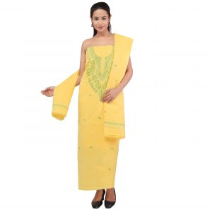 Lavangi Women's Lucknow Chikankari Yellow Unstitched Cotton Dress Material