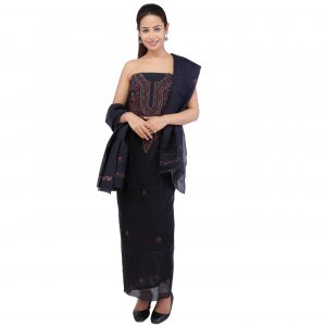 Lavangi Women's Lucknow Chikankari Black Unstitched Cotton Dress Material
