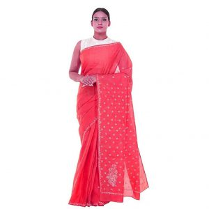 Lucknow Chikan Gajri Cotton saree