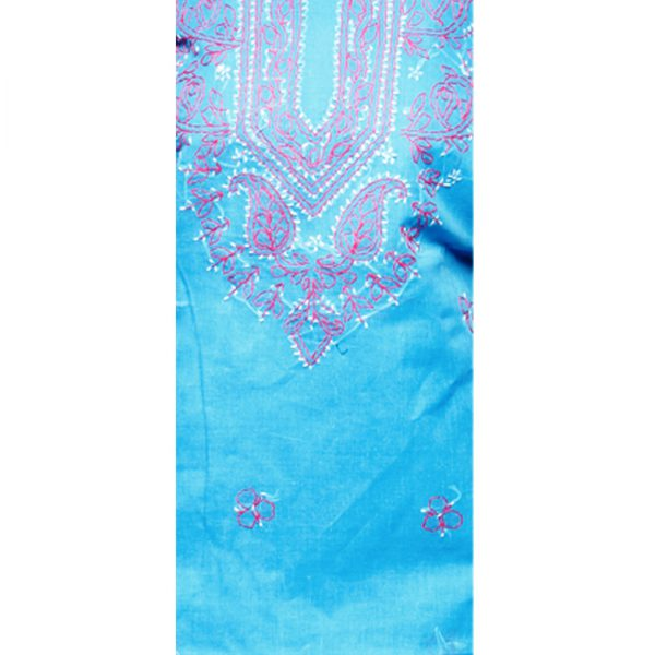 Lavangi Women's Lucknow Chikankari Sky Blue Unstitched Cotton Dress Material Zoom