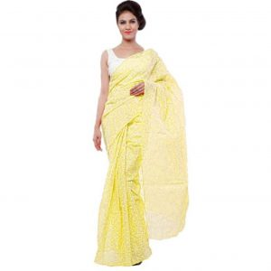 Lemon Yellow Georgette Tepchi Saree