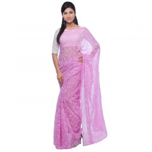 Onion Pink Georgette Tepchi Saree