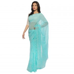 Sea Green Georgette Tepchi Saree