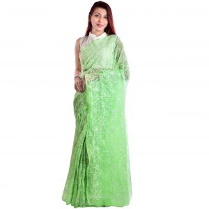 Lavangi Light Green Allover Tepchi Georgette Lucknow Chikankari Saree