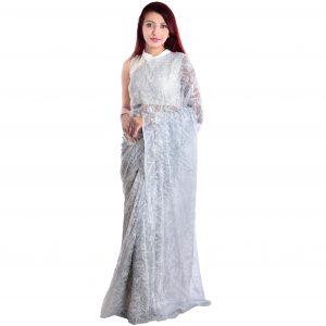 Lavangi Grey Allover Tepchi Georgette Lucknow Chikankari Saree