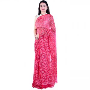 Lavangi Georgette Tepchi Work Red Saree