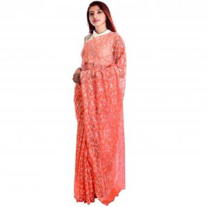 Lavangi Orange Allover Tepchi Georgette Lucknow Chikankari Saree