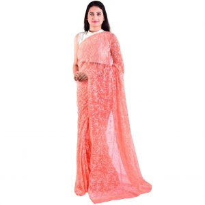 Lavangi Georgette Tepchi Work Peach Saree