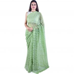 Lavangi Georgette Tepchi Work Mehndi Green Saree