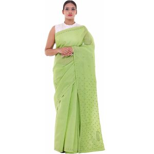 Lavangi Mehndi Green Keel Palla Saree with Green Threads