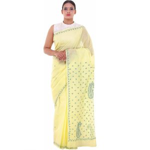 Lavangi Lemon Yellow Keel Palla Saree with Green Threads