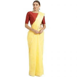 Lavangi Yellow Keel Palla Saree with white Threads