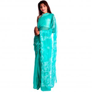 Lavangi Sea Green Georgette Lucknow Chikankari Saree