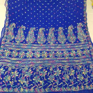 Lucknow Chikan Multicolour Resham Work Saree