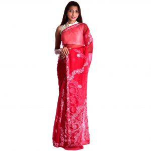 Lavangi Red Georgette Lucknow Chikankari Saree
