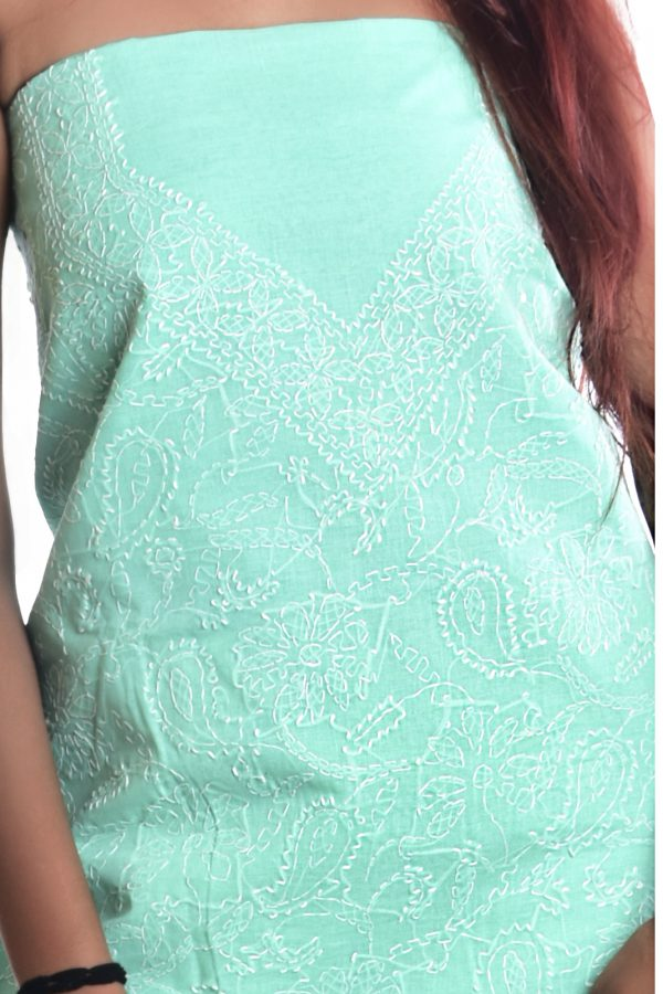 Lavangi Unstitched Sea Green Cotten Front Jaal Dress Material