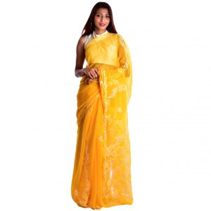 Lavangi Yellow Georgette Lucknow Chikankari Saree