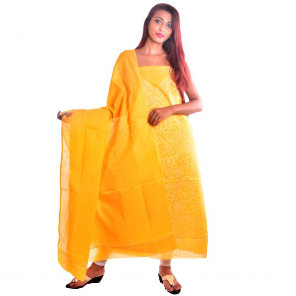 Lavangi Unstitched Turmeric Yellow Cotten Front Jaal Dress Material