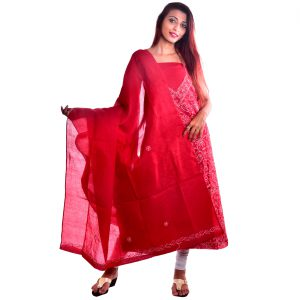 Lavangi Unstitched Maroon Cotten Front Jaal Dress Material