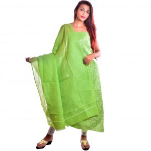 Lavangi Unstitched Pista Green Cotten Front Jaal Dress Material
